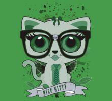 Nice Kitty - White & Green Kids Tee