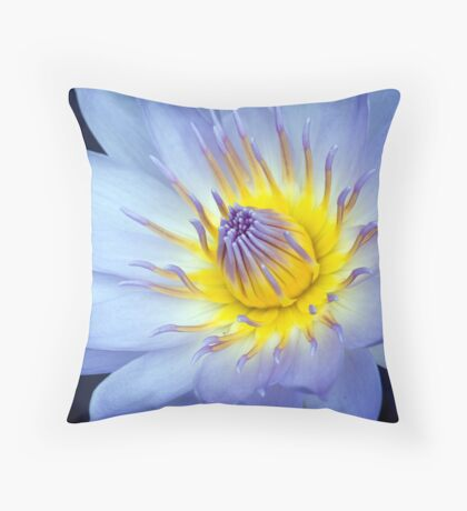 Feeling Blue - macro waterlilly Throw Pillow
