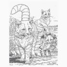 Three Cats Outside - Detailed drawing by thecatgallery