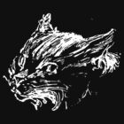 Angry Cat - Head Only Drawing -  white on Black by thecatgallery