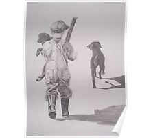 Boy with Lab and Puppy going home from hunt Poster