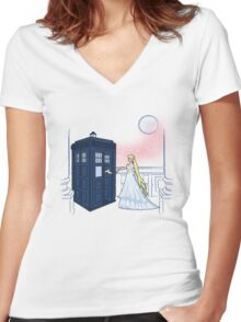 Doctor Moon Women's Fitted V-Neck T-Shirt