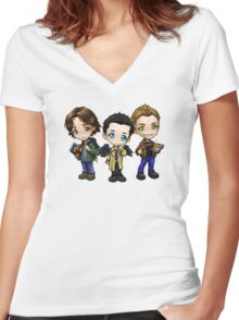Team Free Will - Chibi Style Women's Fitted V-Neck T-Shirt