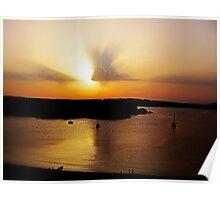 Sundown over Arenal d'en Castell bay Poster