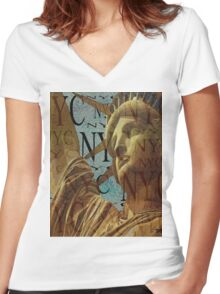 Lady Liberty of New York  Women's Fitted V-Neck T-Shirt