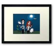 ZEEK ... The Martian Geek sneaks past Mulder to meet Scully Framed Print