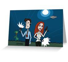 ZEEK ... The Martian Geek sneaks past Mulder to meet Scully Greeting Card
