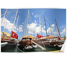 Seven Turkish flags, Bodrum, Turkey Poster