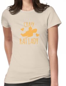 Crazy Rat lady in orange Womens Fitted T-Shirt