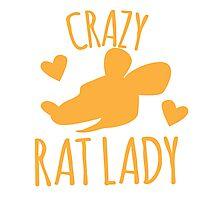 Crazy Rat lady in orange Photographic Print
