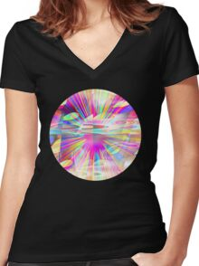 A Rainbow Explosion Women's Fitted V-Neck T-Shirt