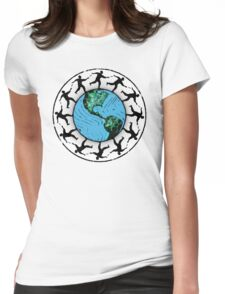 Disc Golfing Planet Earth Womens Fitted T-Shirt