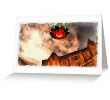 UFO - Over Stately Home by Raphael Terra Greeting Card