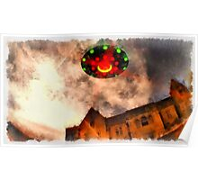 UFO - Over Stately Home by Raphael Terra Poster