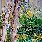Birch Trees with Lillies by Jim Phillips