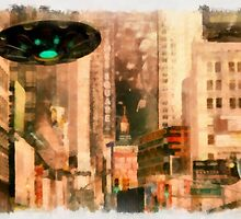 UFO - In The City by Raphael Terra by esotericaart