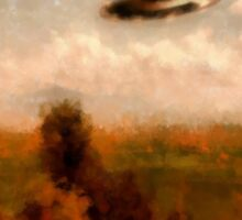 UFO - In The Countryside by Raphael Terra Sticker