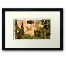 UFO - Over Cathedral by Raphael Terra Framed Print