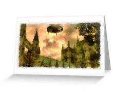 UFO - Over Cathedral by Raphael Terra Greeting Card
