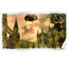 UFO - Over Cathedral by Raphael Terra Poster