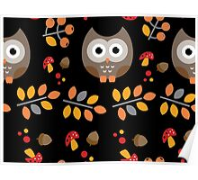 Cute Brown Owl Autumn Pattern Poster