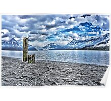 Cloudy day at lake lucerne Poster