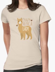 Crazy Alpaca Lady Womens Fitted T-Shirt