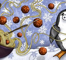 penguin and spaghetti  by Marie-Elena