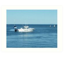 A large boat on its way out to sea for some fishing- Werribee Sth. Art Print