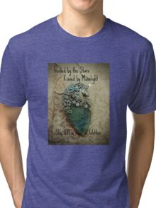 Guided by the Stars Kissed by Moonlight She left a Trail of Glitter One of a Kind Aquamarine Unicorn Butterfly Creation Tri-blend T-Shirt