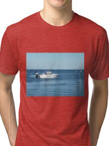 A large boat on its way out to sea for some fishing- Werribee Sth. Tri-blend T-Shirt