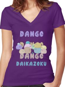 Dango Dango Daikazoku Women's Fitted V-Neck T-Shirt