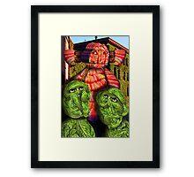 Lettuce Men Looking at the Bacon Poser Man Framed Print