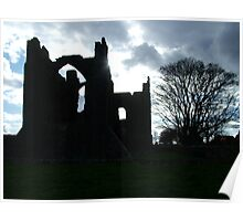 Abbey in Silhouette - Lindesfarne Island, Northumberland, England Poster