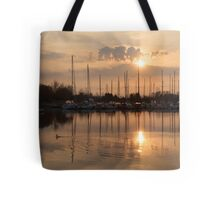 Of Yachts and Cormorants - A Golden Marina Morning Tote Bag