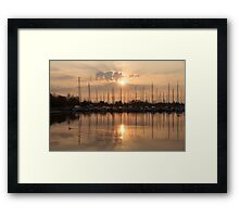 Of Yachts and Cormorants - A Golden Marina Morning Framed Print