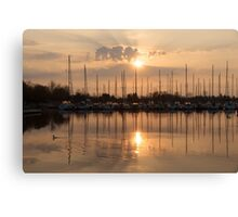 Of Yachts and Cormorants - A Golden Marina Morning Canvas Print