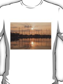 Of Yachts and Cormorants - A Golden Marina Morning T-Shirt