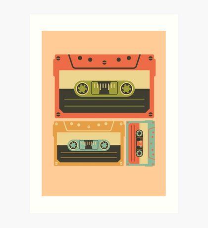 Triple Casette Tape Coloured Art Print