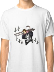music design abstract trombone player Classic T-Shirt