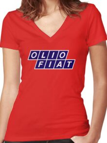 Olio Fiat - Blue/White Women's Fitted V-Neck T-Shirt