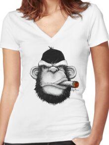 Cigar Monkey Women's Fitted V-Neck T-Shirt