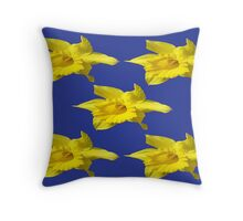 DAFFODILS ON BLUE Throw Pillow