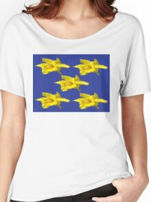 DAFFODILS ON BLUE Women's Relaxed Fit T-Shirt