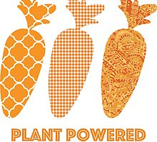 'Plant Powered' Carrot Design Vegan T-shirt by nemofish