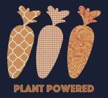 'Plant Powered' Carrot Design Vegan T-shirt One Piece - Long Sleeve