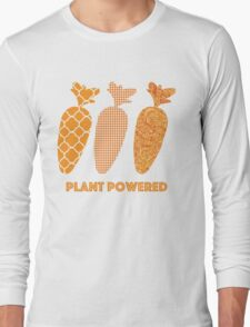 'Plant Powered' Carrot Design Vegan T-shirt Long Sleeve T-Shirt