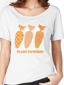 'Plant Powered' Carrot Design Vegan T-shirt Women's Relaxed Fit T-Shirt