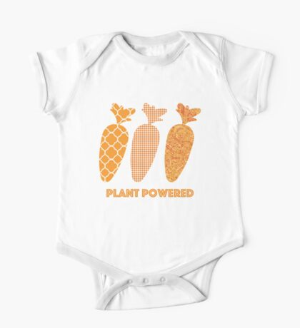 'Plant Powered' Carrot Design Vegan T-shirt One Piece - Short Sleeve