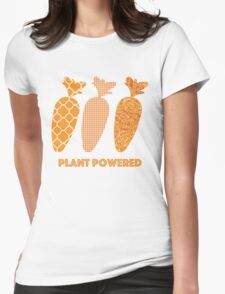 'Plant Powered' Carrot Design Vegan T-shirt Womens Fitted T-Shirt